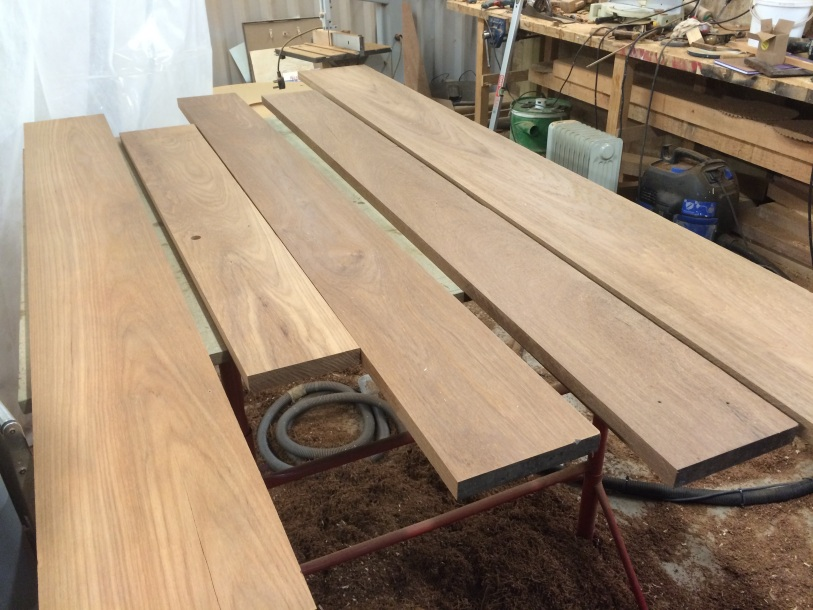 Bench tops after planing.