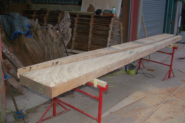 The main keel cut from a single board of quarter sawn Oak.